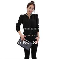 Fashion Chiffon Top Hot Long Sleeve Stand T Shirt Blouse M L Free Shipping