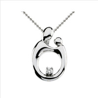 "Wholesale 100% Real Pure Sterling Silver ""Embrace mother's love "" Pendant Necklace Gift for Mother's day gift Jewelry MP006"