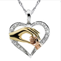"Wholesale 100% Real Pure Sterling Silver ""Mother and Child Hand In Hand"" Pendant Necklace Gift for Mother's Day Jewelry MP002"