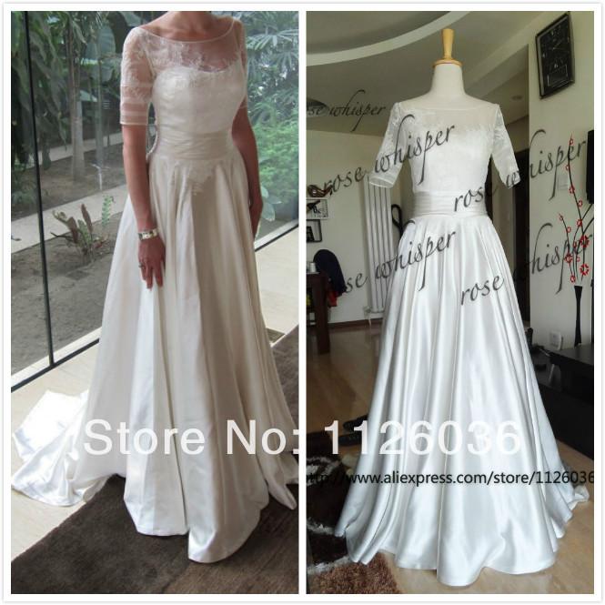 2014 New Style Real Sample Wedding Dress Boat Neck Sheer Lace Top Half Sleeves Silk Satin Bottom