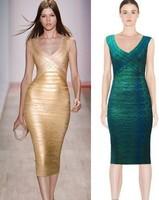 Green Red Golden Long HL Bandage Dresses Sexy Party Dress New Arrival 2014 Evening Dress Fashion V Neck Knee Length Women Dress