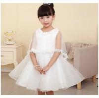 New Arrival 2014 Summer Dress Kids Girl Princess Dress Flower Girl White Wedding Dress Children Girl Party Performance Dress
