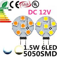 10pcs/lot White/Warm White 6LED Led Lamp G4 5050 Bulb Light 6SMD 5050 DC12V 1.5W 200Lumen Lamp G4 5050 Bulb Lamp Free Shipping