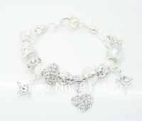 SP16 925 sterling silver bracelets for women, 2014 new, Murano glass beads bracelets jewelry, free shipping, Bracelets & Bangles