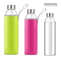 Glass cup with lid portable glass bottle glass car cup mineral water bottle