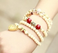 White turquoise agate chalcedony crystal bracelet female fashion 5 spirally-wound vintage  fashion jewelry