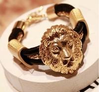 Accessories fashion vintage fashion leather metal lion head bracelet female accessories  fashion jewelry