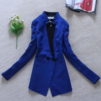 New 2014 Spring Women Outerwear OL Elegant Slim Color Block Decoration Medium-long Blazer Suit  Black Blue Color Double Breasted
