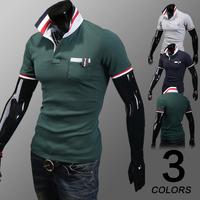2014 summer men's clothing male shirt male short-sleeve T-shirt slim turn-down collar shirts