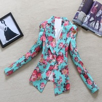 New 2014 Spring Women Outerwear Suit OL Outfit Vintage Print Long-sleeve One Button Blazer New Arrival Silm Notched Collar