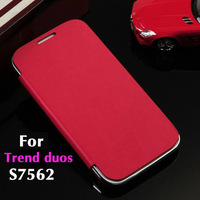 Slim Original Flip Cover Leather Case Remove Back Cover Holster For Samsung Galaxy Trend Duos / S Duos S7562 + Screen Protector
