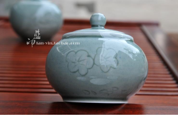 Jingdezhen cerâmica artesanal caddy chá esculpida pequena vasilha de cerâmica portátil(China (Mainland))