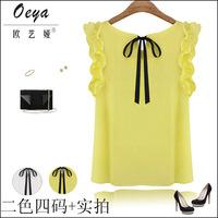 Hot 2014 New Summer Women's Sleeveless Blouses O-neck Chiffon lotus leaf pullover lacing Bow Chiffon Casual Shirts