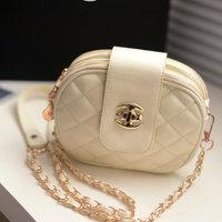2014 bag small sachet elegant plaid lock mini chain bag small round package women's cross-body handbag