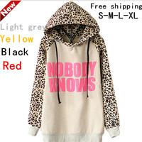 2014 New  Fashion Women Hoodies Sports Sweatshirt Autumn And Winter NOBODY KNOWS Print Hooded Leopard Casual Sweatshirt