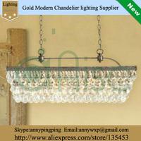 Modern Dining Room Led Crystal Pendant Light Rectangle Luxury Rectangle Pendant Crystal Lighting  Vintage Light
