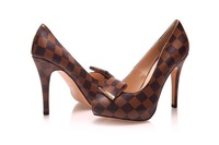 Design color block real leather bow-knotted high heel shoes evening coctail party club pub pumps platform shoes