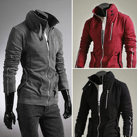 Free shipping 2014 Spring autumn new hoodies  Brushed thick winter cardigan sweater jacket Men M-XXL