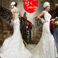 2014 New Fashion White Satin Bridal Wedding Dress Mermaid, Slim fit lace Wedding Dresses, Bridal Gown Dress for Lady