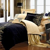 Embroidered cotton bedding set king size export quality 4pc duvet cover tiger brand design comforter set queen hot sale bed set