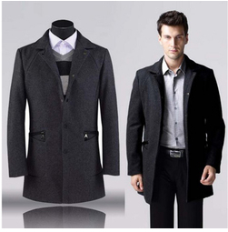 2014 new brand men's long wool trench jacket ,100% genuine wool coat,mens pea coat size M-3XL top quality free shipping(China (Mainland))