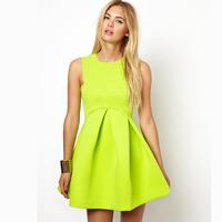2014 new Fashion aq lemon yellow sleeveless pleated high waist tank dress haoduoyi
