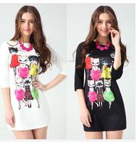 brand 2014 new Spring Cute white bodycon dress summer women's print mini cat dress casual vestidos women black pencil dresses