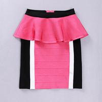 Mixed Colors 2014 Women Patchwork Ruffles Slim Bandage Skirt HL8871