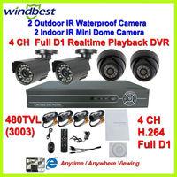 480TVL IR Outdoor Waterproof & Indoor Dome Camera Surveillance Video System 4CH Full D1 H.264 CCTV Network DVR Kit Night Vision