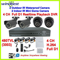 480TVL IR Outdoor Waterproof & Indoor Dome Camera Surveillance Video System 4CH Full D1 H.264 CCTV Network DVR Kit Night Vision
