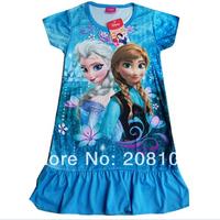 Wholesale 2014 Frozen dress Girl dress Frozen Princes Elsa's dress and Anna's dresses for 2T-7T