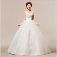 Korean style wedding dress brocade tulle creamy white strapless Ball Gown elegant and fashion bride wedding dress