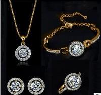 New Crystal Heart&Arrows Sets necklace& Earrings &braclet&Rings Heart setsHeart&Arrows Jewelry For Wedding
