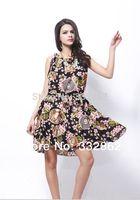 Free shipping 2014 new summer fashion chiffon dress bohemian beach dress European style resort big