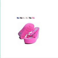2014 ultra high heels new arrival sandals beach slippers flip flops platform women's wedges platform elevator sandals