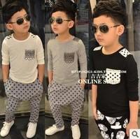Wholesale (5 Size/Lot)2014 Childrens Kids Boys Baby Casual Modal O-Neck Long-Sleeve Basic Shirt Children T Shirts Free Shipping