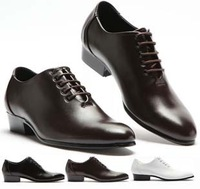 Male lacing shoes elevator leather formal men's pointed toe wedding shoes fashion white commercial man boots