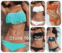 2014 Free Shipping Beauty Women Favor Padded Boho Fringe Top Strapless Bikini set Sexy Swimsuit Top and Bottoms Swimwear