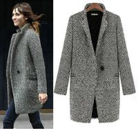 2013 Design New Spring/Winter Trench Coat Women Grey Medium Long Oversize Plus Size Warm Wool Jacket European Fashion Overcoat