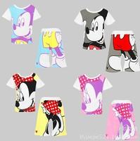 retail 2014 summer new kids Mickey Minnie short-sleeved suit,boys girls cartoon T-shirt+Shorts set sports clothes set