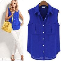New 2014 summer chiffon shirt women's fashion sleeveless blouse shirt summer casual chiffon blouse tops  T240