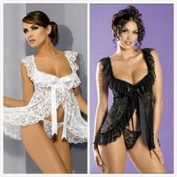 2 Colors Lace Satin Women Sexy Lingerie Hot pron nightie negligee Sleepwear Nightwear,sexy costumes, sexy robe,nightgown