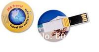 Free full color print logo  mini style round card USB stick   2GB,4GB,8GB,16GB,  Card pendrive