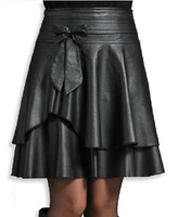 Free Shipping 2015 Spring And Autumn a-line Pleated Skirt , Plu Size Slim Fashion leather Skirt Women's .M-L-XL-XXL-XXXL-XXXXL