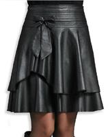 Free Shipping 2014 Spring And Autumn a-line Pleated Skirt , Plu Size Slim Fashion leather Skirt Women's .M-L-XL-XXL-XXXL-XXXXL
