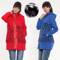 Letter Printed Hooded Zipper Design Lady Casual Outwear Size M-2XL 2014 Winter 4 Colors Women Cardigan