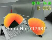 Free shipping Hot 1pcs Men's Women's Designer Sunglasses Silver Frame Iridium Lens 58mm With Box Case all