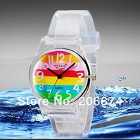 NEW Willis mini  Women's Colorful Striped Print Quartz Analog Watch #6018(transparent)Quartz watch.Wristwatches+free shipping