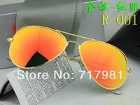 Free shipping Hot 1pcs Men's Women's Designer Aviator Sunglasses  Gold Frame  Iridium red Lens 58mm 3025 With Box Case all