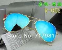 Free shipping Hot 1pcs Men's Women's Designer Sunglasses Gold Frame Iridium Green Lens 58mm With Box Case all
